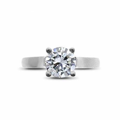 Platinum Claw Set Brilliant Cut Single Stone Diamond Ring 1.01 FVS2 GIA